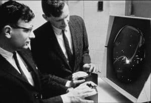 Dan Edwards and Peter Samson playing Spacewar! on the PDP-1 Type 30