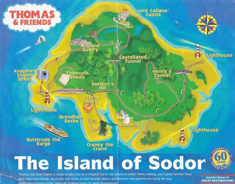 Fictional Locations - Island of Sodor - Thomas the Tank Engine