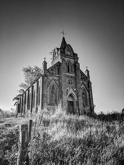 gothic church from gothic fiction in a field