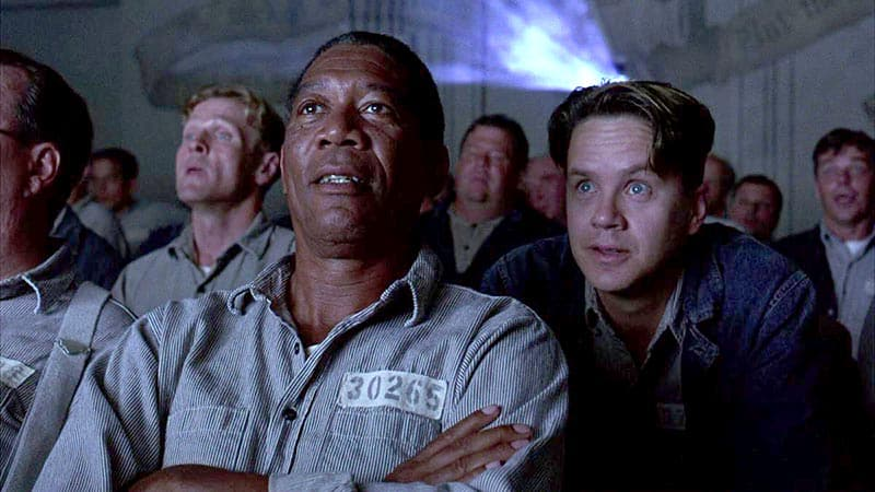 Andy and Red, shawshank redemption, watching a movie with fellow inmates with a projector