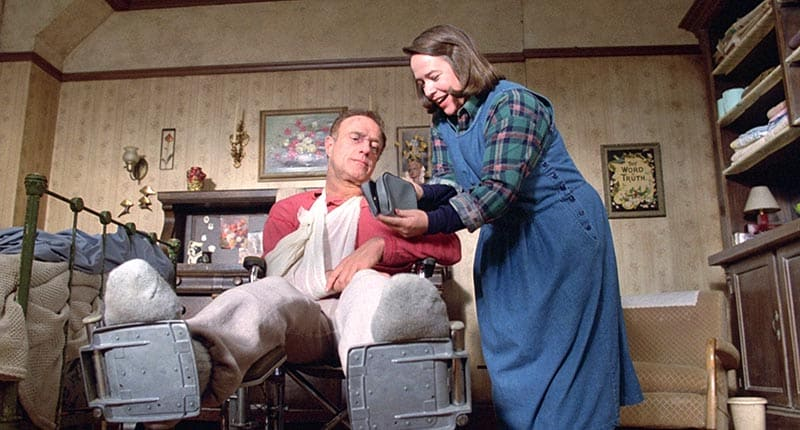 misery, a trapped movie, starring james caan and kathy bates