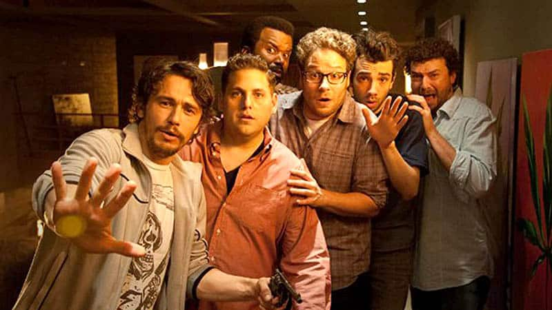 this is the end, a trapped movie, starring james franco, jonah hill, craig robinson, seth rogen, jay baruchel, and danny mcbride
