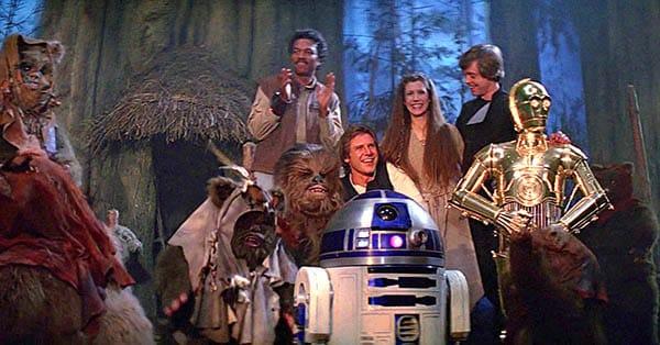 star wars return of the jedi celebration with the ewoks
