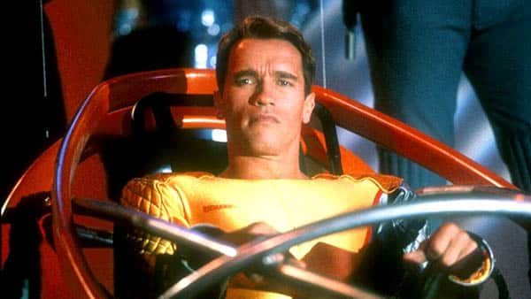The Running Man - Arnold Schwarzenegger as Ben Richards about to be jettisoned into the battle arena