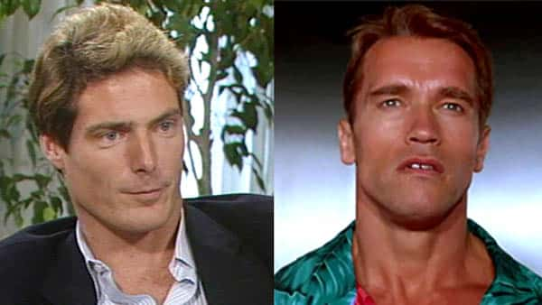 Christopher Reeve and Arnold Schwarzenegger side by side comparison for the role of The Running Man circa 1987