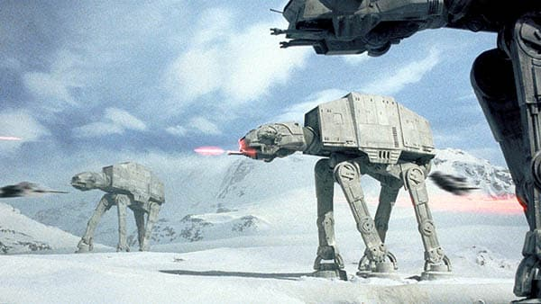 star wars: the empire strikes back at-ats attack the rebel base on the ice planet Hoth