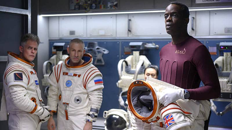 away features a spaceship crewed by international crew members