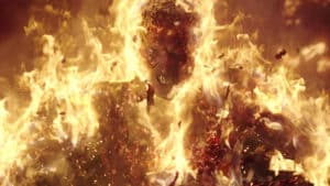 machine gun kelly on fire human torch style in project power vfx shot