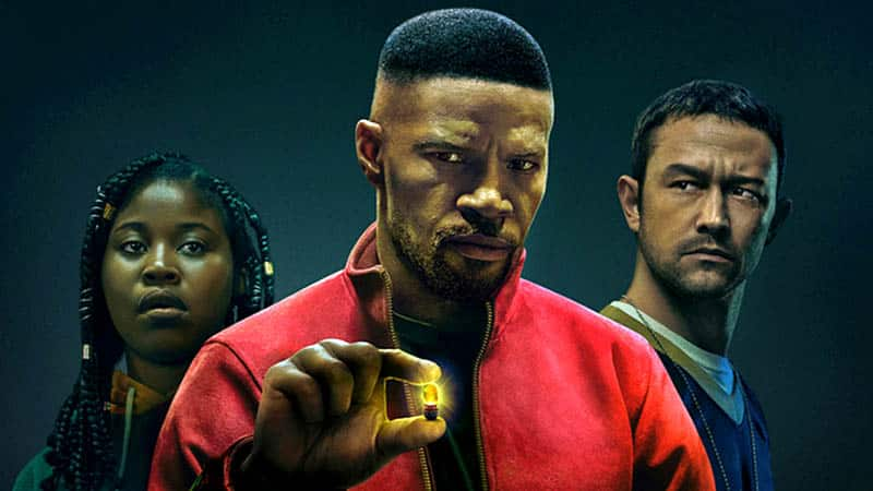 In project power, vfx shines, as evidenced by the glowing pill in this promotional shot of the three main characters