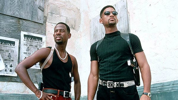 Bad Boys - Will Smith and Martin Lawrence look stylish in all black while surveying the streets - best buddy cop movies ever