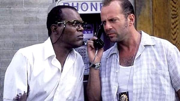 die hard with a vengeance - samuel l. jackson and bruce willis answer a phone call from the terrorist - best buddy cop movies ever