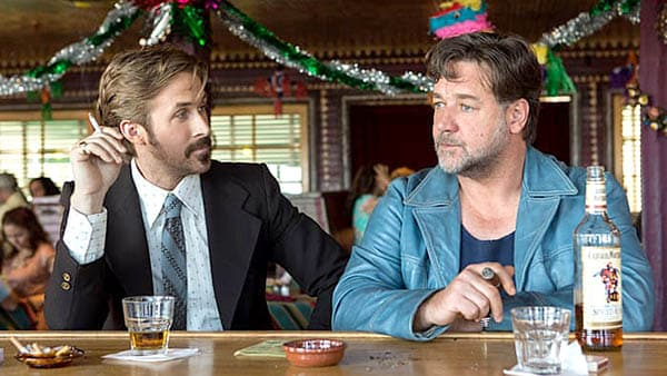 the nice guys - ryan gosling and russell crowe have some drinks at the bar - best buddy cop movies ever