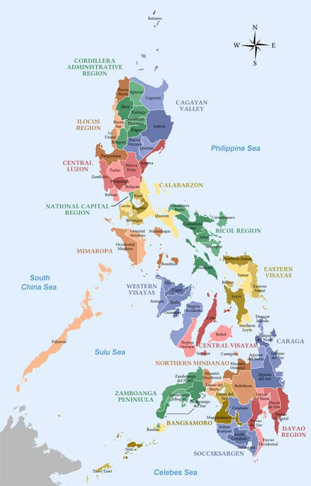 map of Philippines with regions and provinces