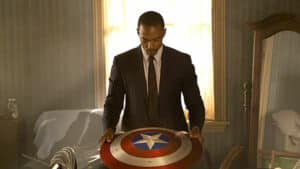 Sam Wilson looks at the Captain America shield - the falcon and the winter soldier season one review